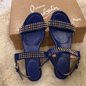 Authentic christian louboutin blue spike sandals